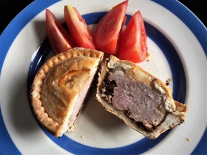 Pheasant, pork and caramelised onion pie for lunch